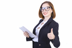Businesswoman with glasses and tablet computer Royalty Free Stock Image