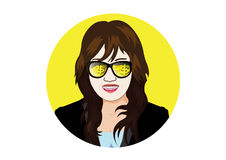 Businesswoman with glasses visible gold coin and bullion Royalty Free Stock Photography