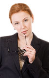 Businesswoman with glasses on white Royalty Free Stock Image
