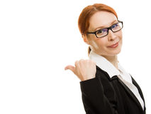 Businesswoman in glasses on a white background. Stock Images
