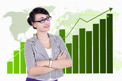Businesswoman with global business chart Royalty Free Stock Photo