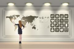 The businesswoman in global business concept Royalty Free Stock Photos