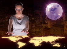 The businesswoman in global business concept Stock Image