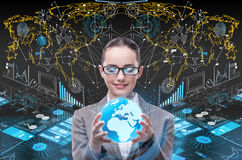 The businesswoman in global business concept Stock Photos