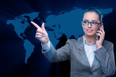 The businesswoman in global business concept Royalty Free Stock Photography