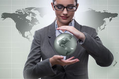 The businesswoman in global business concept Royalty Free Stock Image