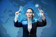 The businesswoman in global computing concept Stock Image