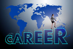 The businesswoman in global employment concept. Businesswoman in global employment concept stock illustration