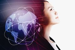 Businesswoman with global network concept stock photo
