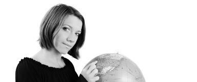 Businesswoman with a globe Royalty Free Stock Images