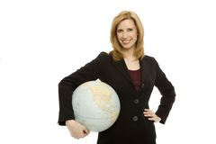 Businesswoman with globe. Businesswoman smiles and holds a globe Stock Photography