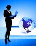 Businesswoman on Globe Background Royalty Free Stock Photography