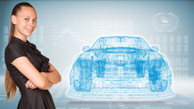 Businesswoman and glow wire-frame car Royalty Free Stock Image
