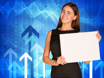 Businesswoman with glowing arrows and waves Stock Images
