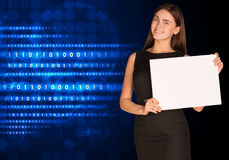Businesswoman with glowing figures and circles Stock Photos