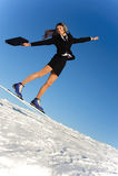 Businesswoman go skiing royalty free stock photo