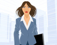Businesswoman going with folder. Vector illustration of a businesswoman going with folder Royalty Free Stock Photo