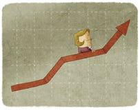 Businesswoman going up in graph escalator Stock Photos