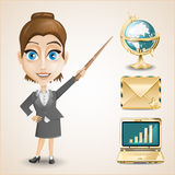 Businesswoman, gold envelope,  globe and notebook Stock Image