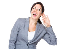 Businesswoman gossip about other talking Stock Photo