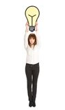 Businesswoman got an idea. Over white background Stock Images