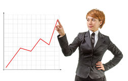 Businesswoman with a graph. Businesswoman showing a graph line Stock Images