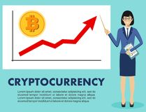 Cryptocurrency concept. Businesswoman and graph with trend line rising up and coin with a sign of bitcoin in flat style Royalty Free Stock Photography