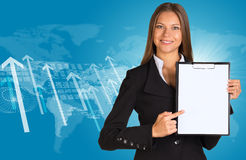 Businesswoman with graphs, arrows and world map Stock Photos