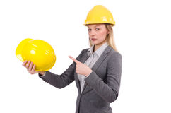 Businesswoman in gray suit and safety helmet Royalty Free Stock Photography