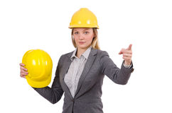 Businesswoman in gray suit and safety helmet Stock Photography