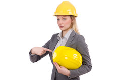 The businesswoman in gray suit and safety helmet Stock Photo