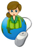 A businesswoman with a green blazer above the globe with a compu Royalty Free Stock Photo