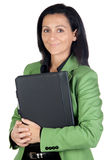 Businesswoman with green jacket Royalty Free Stock Photos