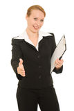Businesswoman greeting Royalty Free Stock Photography