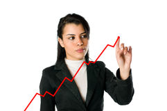 Businesswoman and growing chart Royalty Free Stock Photo