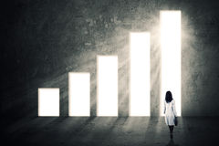 Businesswoman and growing graph Royalty Free Stock Photography