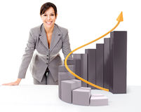 Businesswoman with  growth graph Stock Photography