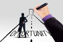 Businesswoman guided to opportunity door. Rear view of female entrepreneur standing on a road with an opportunity text and a door Royalty Free Stock Photos