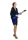 Businesswoman with guitar Royalty Free Stock Photos