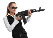 Businesswoman with a gun Stock Photos