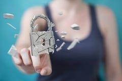 Businesswoman hacking in broken padlock security 3D rendering. Businesswoman on blurred background hacking in broken padlock security 3D rendering Stock Images