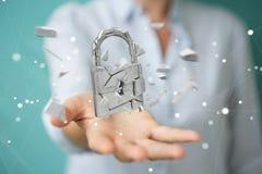 Businesswoman hacking in broken padlock security 3D rendering. Businesswoman on blurred background hacking in broken padlock security 3D rendering Royalty Free Stock Photo