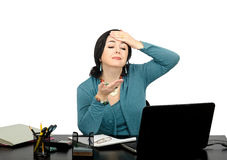 Woman has a headache while talking online Royalty Free Stock Photo