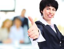Businesswoman with hand Stock Images