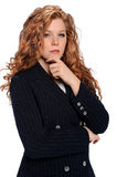 Businesswoman With hand on Chin Royalty Free Stock Photos