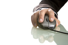 Businesswoman hand close up on computer mouse Royalty Free Stock Photos