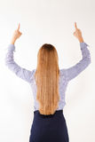 Businesswoman with hand and fingers up isolated Royalty Free Stock Photography