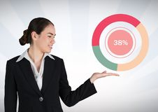 Businesswoman hand open with colorful chart statistics. Digital composite of Businesswoman hand open with colorful chart statistics stock illustration