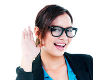 Businesswoman With Hand Over Ear Stock Photos