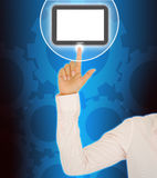 Businesswoman hand pushing tablet. Computer Royalty Free Stock Image